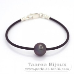 Rubber, Sterling Silver Bracelet and 1 Tahitian Pearl Round C 9.9 mm