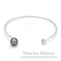 Rhodiated Sterling Silver Bracelet and 1 Tahitian Pearl Near-Round B 8.3 mm