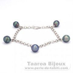 Rhodiated Sterling Silver Bracelet and 5 Tahitian Pearls Ringed B+  7.8 to 8.4 mm