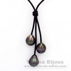 Leather Necklace and 3 Tahitian Pearls Ringed C  10.4 to 10.6 mm