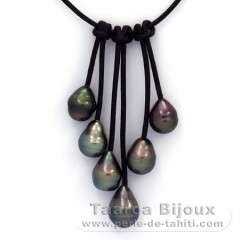 Leather Necklace and 6 Tahitian Pearls Ringed B  9 to 9.5 mm