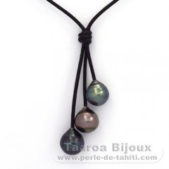 Leather Necklace and 3 Tahitian Pearls Ringed C  10 to 10.5 mm