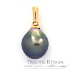 18K solid Gold Pendant and 1 Tahitian Pearl Semi-Baroque B 9 mm