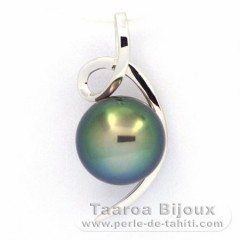 18K Solid White Gold Pendant and 1 Tahitian Pearl Near-Round B+ 9 mm
