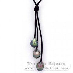 Leather Necklace and 3 Tahitian Pearls Ringed B  9.5 to 9.6 mm