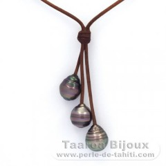 Leather Necklace and 3 Tahitian Pearls Ringed C  10.2 to 10.7 mm