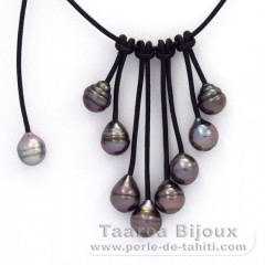 Leather Necklace and 9 Tahitian Pearls Ringed B  9 to 9.9 mm
