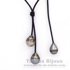 Leather Necklace and 3 Tahitian Pearls Ringed C  9 to 10.4 mm