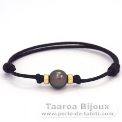 Waxed Cotton Bracelet and 1 Tahitian Pearl Round C 9.4 mm