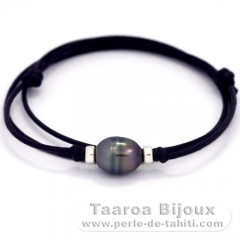 Waxed Cotton Necklace and 1 Tahitian Pearl Ringed B 10.6 mm