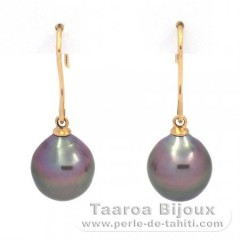18K solid Gold Earrings and 2 Tahitian Pearls Semi-Baroque B 9.7 mm