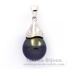 Rhodiated Sterling Silver Pendant and 1 Tahiti Pearl Ringed C 11.5 mm