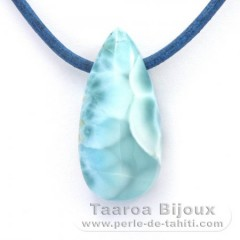 Leather Necklace and 1 Larimar - 30 x 14 x 10 mm - 7.7 gr