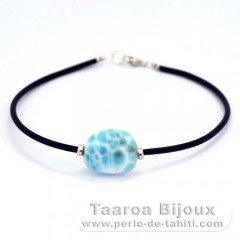 Sterling Silver, Rubber Bracelet and 1 Larimar - 15.5 x 13 x 7.8 mm - 2.6 gr