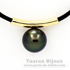18K solid Gold Pendant and 1 Tahiti Pearl Round B 9.9 mm