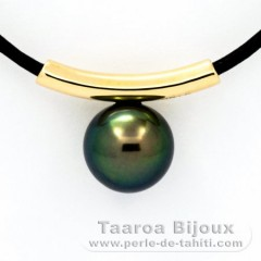 18K solid Gold Pendant and 1 Tahiti Pearl Round C 10 mm