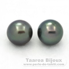 Lot of 2 Tahiti Pearls Round C from 9.1 to 9.2 mm