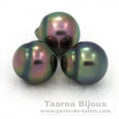 Lot of 3 Tahiti Pearls Semi-Baroque B from 9.4 to 9.7 mm