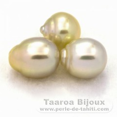 Lot of 3 Australian Pearls Semi-Baroque AA from 11.2 to 11.4 mm