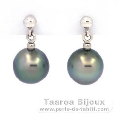 18K Solid White Gold Earrings and 2 Tahiti Pearls Near-Round B 8.4 mm