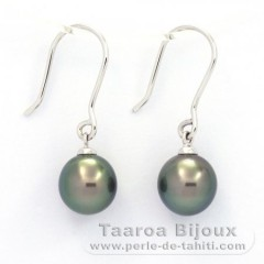 18K Solid White Gold Earrings and 2 Tahiti Pearls Near-Round B 8.2 mm