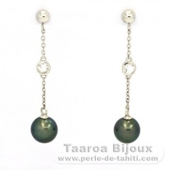 Rhodiated Sterling Silver Earrings and 2 Tahiti Pearls Near-Round B 9.3 mm