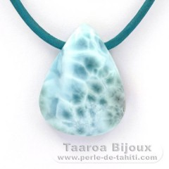 Leather Necklace and 1 Larimar - 30 x 23 x 9 mm - 11.2 gr