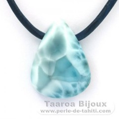 Leather Necklace and 1 Larimar - 24 x 18 x 9 mm - 6.9 gr