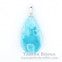 Rhodiated Sterling Silver Pendant and 1 Larimar - 28 x 16 x 8 mm - 6.1 gr