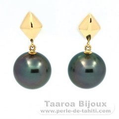 18K solid Gold Earrings and 2 Tahiti Pearls Round B 8.3 mm