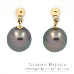 Rhodiated Sterling Silver Earrings and 2 Tahiti Pearls Near-Round B 8.1 mm