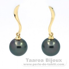 18K solid Gold Earrings and 2 Tahitian Pearls Round B 8.6 mm