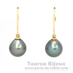 18K Gold Earrings and 2 Tahitian Pearls Semi-Baroque A & B/C 9.8 mm