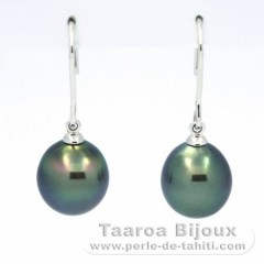 18K Solid White Gold Earrings and 2 Tahitian Pearls Semi-Baroque C+ 9.8 mm