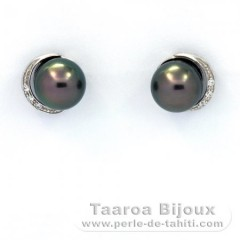 Rhodiated Sterling Silver Earrings and 2 Tahitian Pearls Near-Round C 8.5 mm
