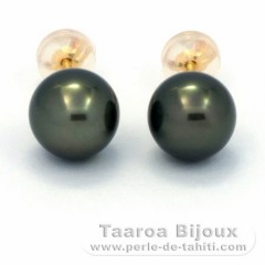 18K solid Gold Earrings and 2 Tahiti Pearls 1 Round 1 Near-Round B 8 mm