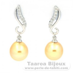 Rhodiated Sterling Silver Earrings and 2 Australian Pearls Semi-Baroque B 9 mm