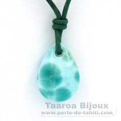 Cotton Necklace and 1 Larimar - 16 x 12 x 6 mm - 2 gr