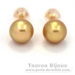 18K solid Gold Earrings and 2 Australian Pearls Semi-Baroque B 8 mm