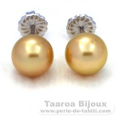 Rhodiated Sterling Silver Earrings and 2 Australian Pearls Round B and C 9.6 mm
