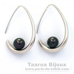 Rhodiated Sterling Silver Earrings and 2 Tahitian Pearls Round C 8 mm