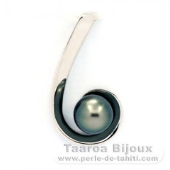 Rhodiated Sterling Silver Pendant and 1 Tahiti Pearl Round C 8.3 mm