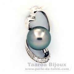 Rhodiated Sterling Silver Pendant and 1 Tahiti Pearl Semi-Baroque B 8.5 mm