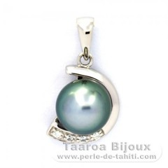 Rhodiated Sterling Silver Pendant and 1 Tahitian Pearl Round C 8.1 mm