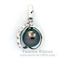 Rhodiated Sterling Silver Pendant and 1 Tahiti Pearl Round C 8 mm