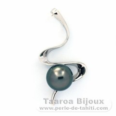 Rhodiated Sterling Silver Pendant and 1 Tahiti Pearl Near-Round C 8.9 mm