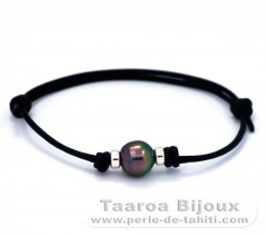 Leather Bracelet and 1 Tahiti Pearl Ringed C 9.8 mm