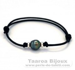 Waxed Cotton Bracelet and 1 Tahitian Pearl Ringed B 9.2 mm