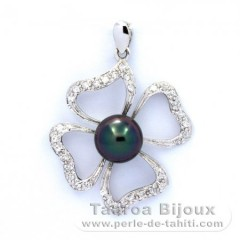 Rhodiated Sterling Silver Pendant and 1 Tahiti Pearl Round C 8.2 mm