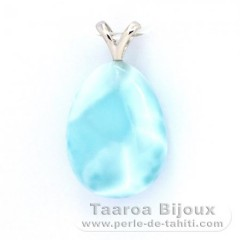 Rhodiated Sterling Silver Pendant and 1 Larimar - 20 x 15 x 8 mm - 4.2 gr
